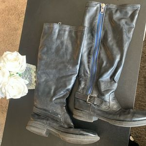 Dark grey almost black leather boots